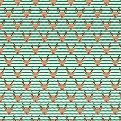 (micro print) rudolph - reindeer - green stripes fabric by littlearrowdesign on Spoonflower - custom fabric