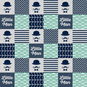 "(3"" small scale) Little man dapper trio wholecloth - navy and aqua stone"