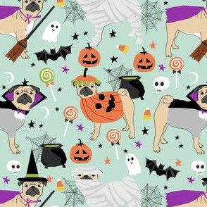 pug halloween costume fabric - cute dogs in costumes fabric - mint