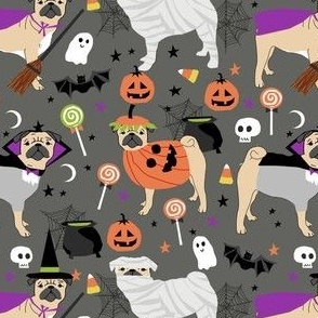 pug halloween costume fabric - cute dogs in costumes fabric - grey
