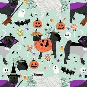 black pug halloween costume fabric - cute dogs in costumes fabric - mint