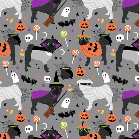 black pug halloween costume fabric - cute dogs in costumes fabric - light grey fabric by petfriendly on Spoonflower - custom fabric