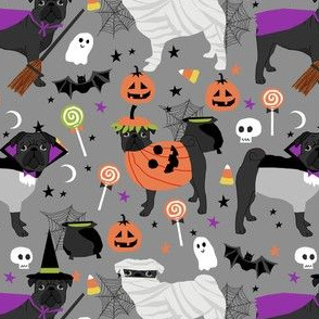 black pug halloween costume fabric - cute dogs in costumes fabric - light grey