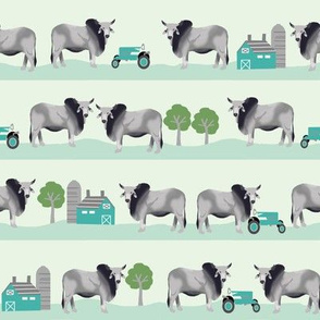 brahman cattle fabric farm ranch design - mint