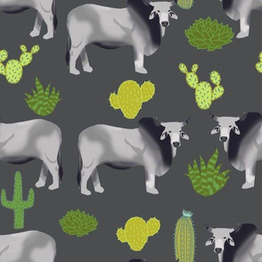 brahman cattle fabric cow and cactus design - grey