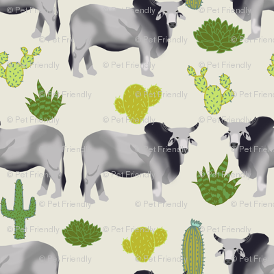brahman cattle fabric cow and cactus design - off-white