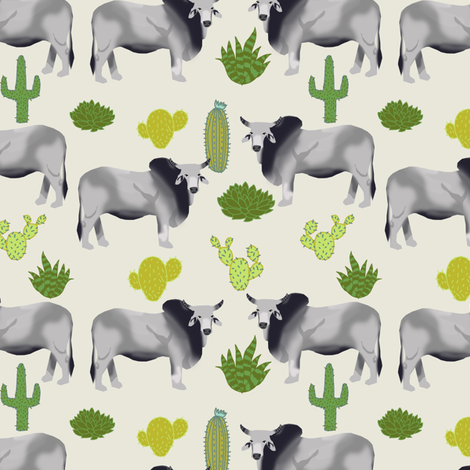 brahman cattle fabric cow and cactus design - off-white fabric by petfriendly on Spoonflower - custom fabric