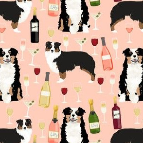 australian shepherd dog fabric dogs and wine design - tricolored aussie dog - peach