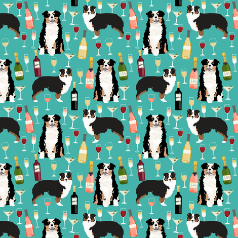 australian shepherd dog fabric dogs and wine design - tricolored aussie dog - turquoise - smaller version fabric by petfriendly on Spoonflower - custom fabric