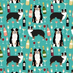 australian shepherd dog fabric dogs and wine design - tricolored aussie dog - turquoise - smaller version