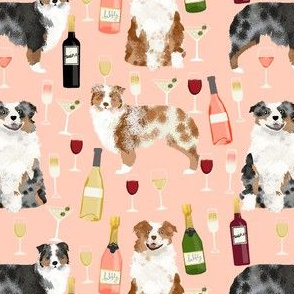 australian shepherd dog fabric dogs and wine design - red merle and blue merle dogs - peach