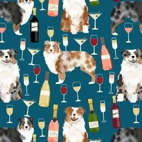 australian shepherd dog fabric dogs and wine design - red merle and blue merle dogs - blue