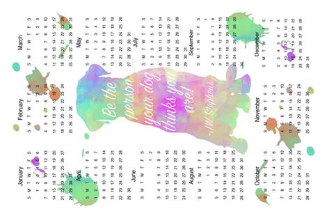 Year of the dog tea towel fabric by krystalsavage on Spoonflower - custom fabric