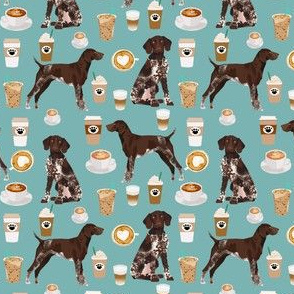 german shorthaired pointer coffee fabric design cute dogs fabric dog design - gulf blue