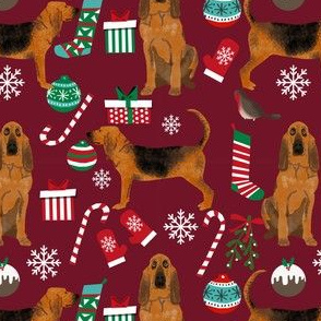 bloodhound christmas fabric dogs at christmas design - ruby red