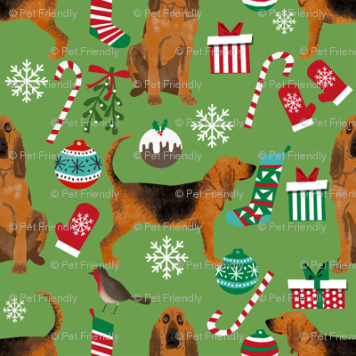 bloodhound christmas fabric dogs at christmas design - green