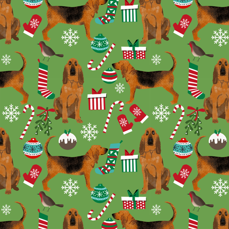 bloodhound christmas fabric dogs at christmas design - green fabric by petfriendly on Spoonflower - custom fabric
