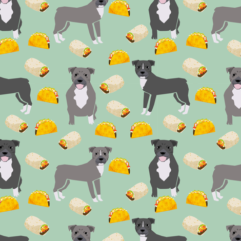 pitbull taco fabric - dogs and burritos design - mint fabric by petfriendly on Spoonflower - custom fabric