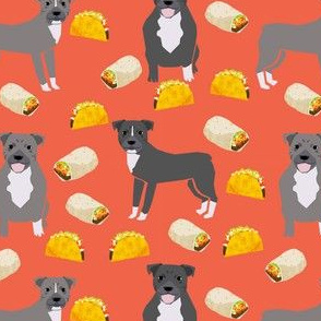 pitbull taco fabric - dogs and burritos design - orange