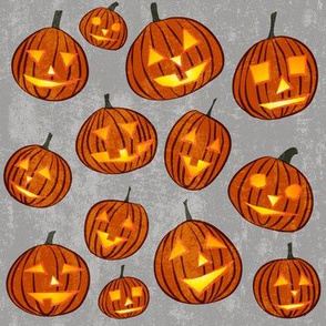 pumpkins on light grey
