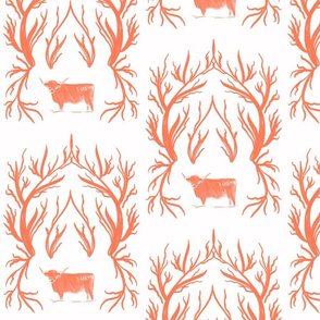 Highlander Damask in Coral
