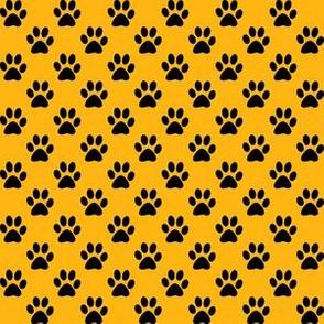 Half Inch Black Paw Prints on Yellow Gold