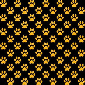 Half Inch Yellow Gold Paw Prints on Black