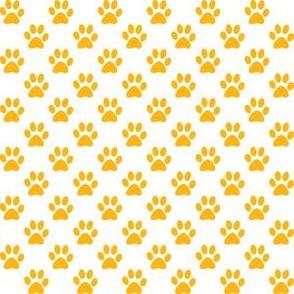 Half Inch Yellow Gold Paw Prints on White