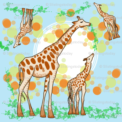 Pointillism Mama and Baby Giraffe