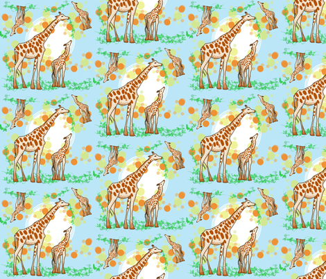 Pointillism Mama and Baby Giraffe fabric by slistingstoday on Spoonflower - custom fabric