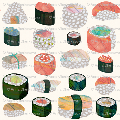 Sushi pattern on an ivory background