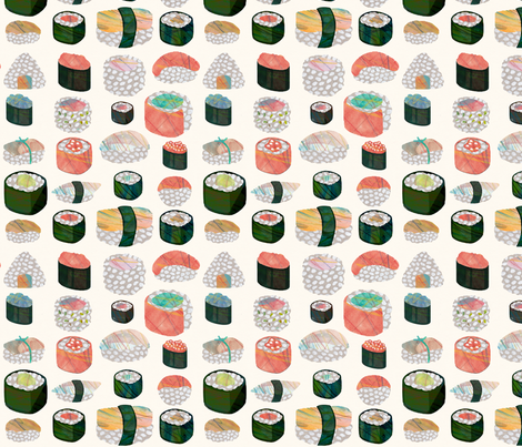 Sushi pattern on an ivory background fabric by acheartist on Spoonflower - custom fabric