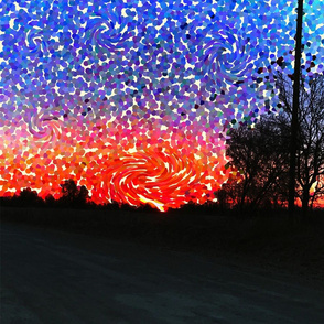 Pointillism meets Van Gogh Sunrise on a Country Road