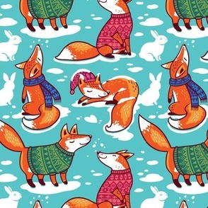 foxes in cozy sweaters