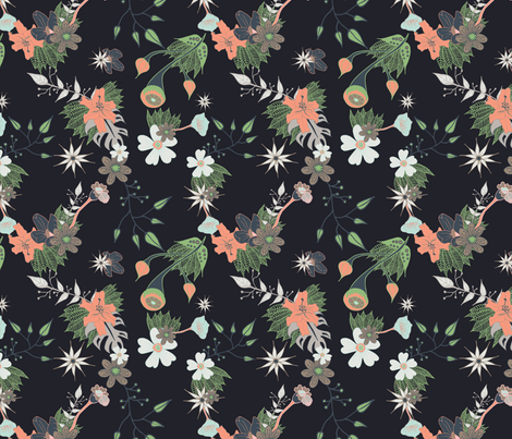 Dark Floral with hints of pink and green fabric by mabouk on Spoonflower - custom fabric