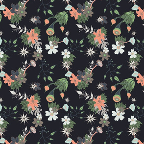 Dark Floral with hints of pink and green