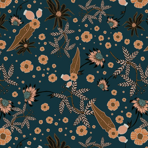 Australian Floral & Gumnuts on navy