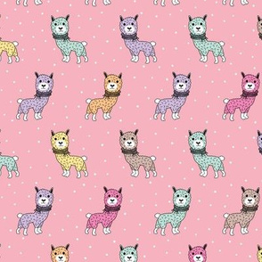 Colorful winter baby Llama kids alpaca illustration pattern