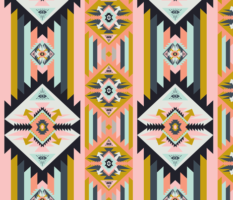 Colorful Pastel Kilim with eye fabric by mabouk on Spoonflower - custom fabric