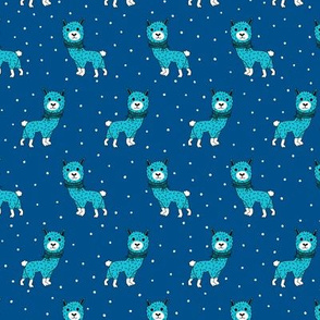 Colorful winter baby Llama kids alpaca sleepy night blue illustration pattern