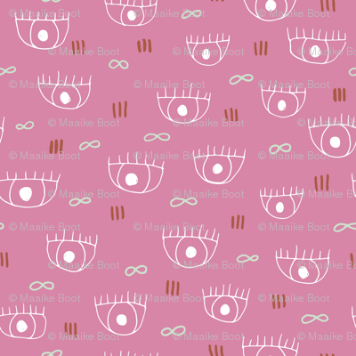 Human eyes and eyelashes infinite beauty staring at you cool trendy pop pattern pink