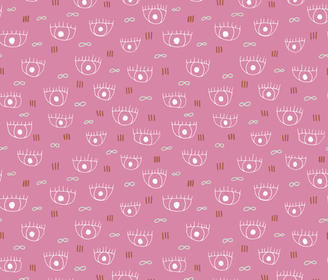 Human eyes and eyelashes infinite beauty staring at you cool trendy pop pattern pink fabric by littlesmilemakers on Spoonflower - custom fabric