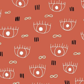Human eyes and eyelashes infinite beauty staring at you cool trendy pop pattern gender neutral