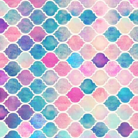 Rotated Rainbow Pastel Watercolor Moroccan Pattern extra small fabric by micklyn on Spoonflower - custom fabric