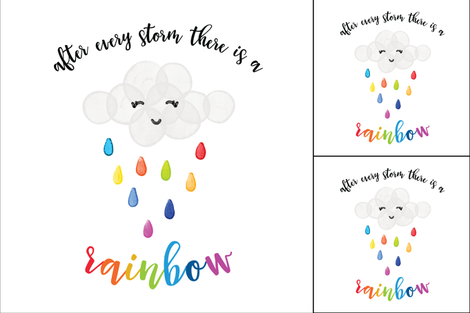 1 blanket + 2 loveys: after every storm there is a rainbow fabric by ivieclothco on Spoonflower - custom fabric