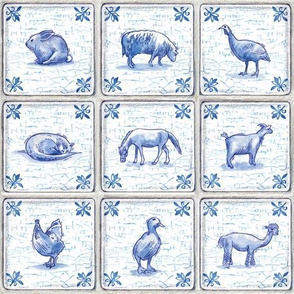 Dutch Farm Tiles with Crackle Finish, Royal Blue, Farm Animals, Sheep, Goat, Horse, Alpaca