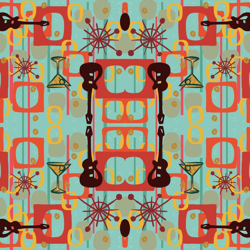 Ruby Cocktails Blue wallpaper - woodyworld - Spoonflower