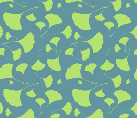 Green Ginkgo Leaves fabric by guntercreative on Spoonflower - custom fabric