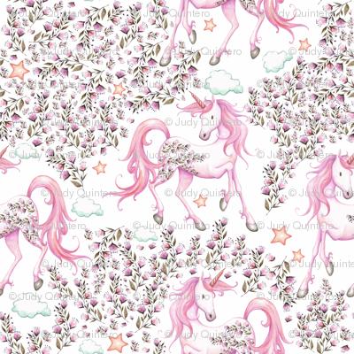 """7"""" Pink Unicorn Floral Garden / PINK"""