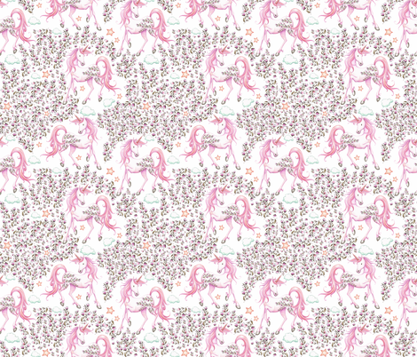"""7"""" Pink Unicorn Floral Garden / PINK fabric by shopcabin on Spoonflower - custom fabric"""